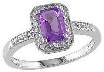 Sterling Silver Diamond And 78 Ct Tgw Amethyst Fashion Ring I3