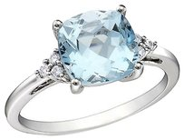 Other 10k White Gold Diamond And 2 12 Ct Tgw Blue Topaz - Sky Fashion Ring Gh I2-i3