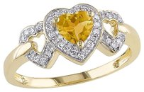 10k Yellow Gold 18 Ct Diamond And 25 Ct Citrine 3 Heart Love Ring Gh I2i3