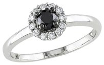 Other Sterling Silver 12 Ct Tw Black And White Diamond Halo Engagement Ring I3