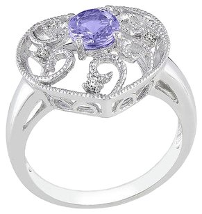 Sterling Silver Diamond And 0.54 Ct Tanzanite Heart Love Swirl Geometric Ring