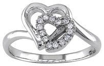 Other 14k White Gold 110 Ct Diamond Double Heart Love Ring I1-i2