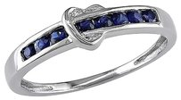10k White Gold 38 Ct Sapphire Heart Love Fashion Solitaire With Accents Ring