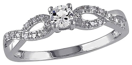 Other Sterling Silver 0.31 Ct Tw Diamond White Sapphire Crossover Fashion Ring