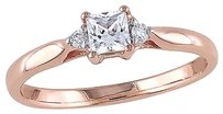 Other Pink Silver 0.32 Ct Tw Diamond Accent And White Sapphire Solitare Ring