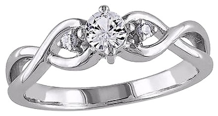 Other Sterling Silver 0.36 Ct Tw Diamond White Sapphire Crossover Fashion Ring Gh I3