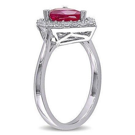 Other Sterling Silver 2 15 Ct Tgw Ruby White Sapphire Cluster Fashion Ring