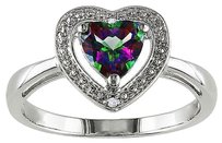 Sterling Silver Diamond And 1 Ct Exotic Green Topaz Heart Love Solitaire Ring I3