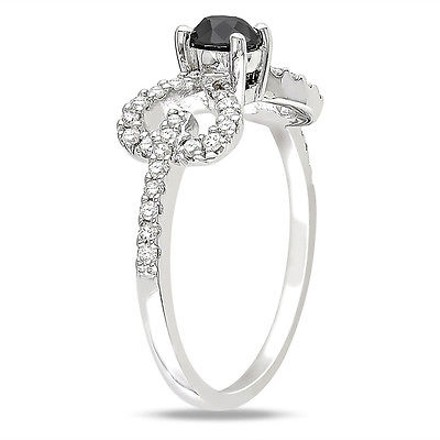 Other 10k White Gold 12 Ct Black And White Diamond Tw Fashion Ring Gh I2i3