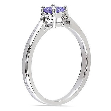 Other Sterling Silver 0.34 Ct Tw Diamond And Tanzanite Solitare Fashion Ring Gh I2i3
