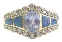 Fine Oval Gem Tanzanite Inlay Opal Diamond Yellow Gold Jewelry Ring 1.31ct