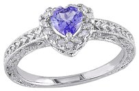 Other Sterling Silver 17 Ct Diamond Tw And 38 Ct Tgw Tanzanite Fashion Ring Gh I3