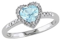 Other 10k White Gold 110 Ct Diamond And 1 Ct Sky Blue Topaz Heart Love Ring Gh I2i3