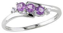 10k White Gold Diamond And 13 Ct Tgw Amethyst 3 Stone Ring Gh I2i3