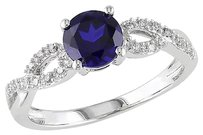 Other 10k White Gold 110 Ct Diamond And 1 Ct Blue Sapphire Crossover Ring Gh I1i2