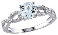 Other 10k White Gold 110 Ct Diamond And 34 Ct Aquamarine Crossover Fashion Ring