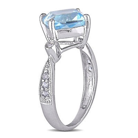 Other Sterling Silver Diamond And 2 35 Ct Sky Blue Topaz Fashion Ring I3