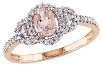 10k Pink Gold 16 Ct Diamond Tw And 12 Ct Tgw Morganite Fashion Ring Gh I2i3