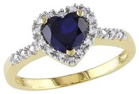 Yellow Sterling Silver 110 Ct Diamond And 78 Ct Blue Sapphire Heart Love Ring