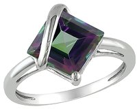 Other 10k White Gold 3 Ct Tgw Exotic Green Topaz Fashion Ring