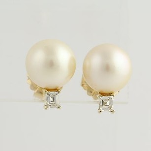 South Seas Pearl Diamond Stud Earrings- 14k Yellow Gold Pierced Genuine .50ctw