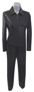 Other St John Evening Black Pailette Zip Jacket 2 Matching Trousers 4
