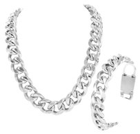 Stainless Steel Silver Miami Cuban Link 31 Necklace 14k White Gold Finish Chain