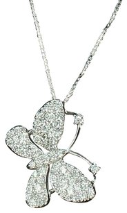 Star Quality Womens Iced Out Cz Butterfly Pendant Chain Combo Sterling Silver