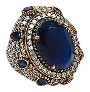 Gold Plated Sterling Silver Blue Resin Gemstone Cz Oval Statement Ring