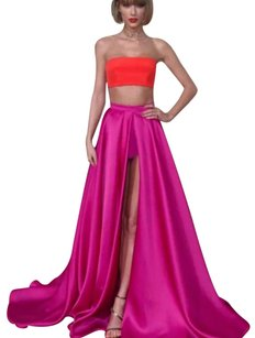Strapless Crop Top Split Dress