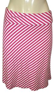Other Mix Co White Bias Striped Stretch Knit Foldover Waist Casual Skirt Pink