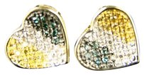 Other 10k Womens Heart Pave Multi Diamond 11 Mm Stud Earrings