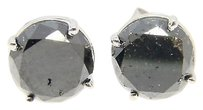 14k White Gold Black Diamond Solitaire Stud Earrings 3