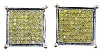 Other Mens Full Canary 13 Mm 10k Gold Diamond 4prong Stud Earrings