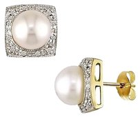 10k Yellow Gold 7.5-8mm Pearl Diamond Stud Earrings 0.12 Cttw I-j I2-i3