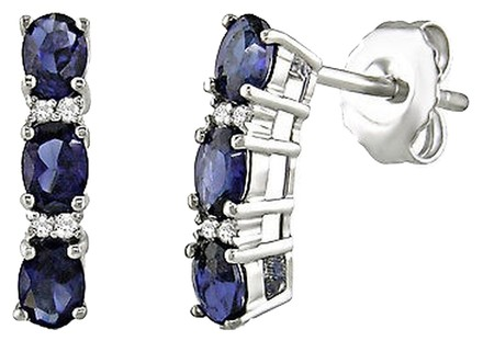 Other Sterling Silver Diamond Sapphire Pin Earrings I3