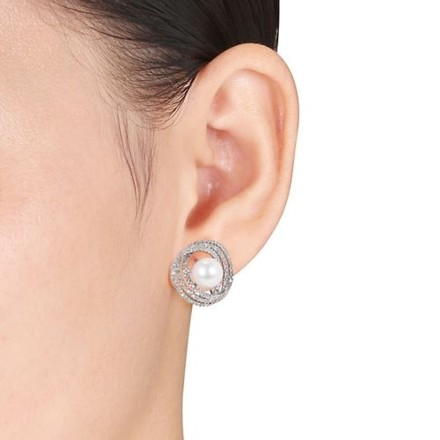 Other Sterling Silver 8-8.5 Mm Pearl Diamond Accent Stud Earrings 0.25 Cttw G-h I2-i3