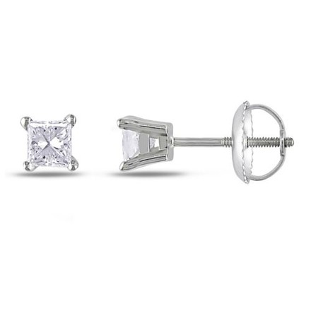 Other 14k White Gold Diamond Solitaire Stud Earrings 0.5 Cttw G-h I1-i2