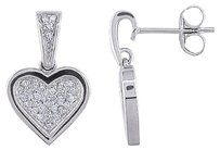 14k White Gold 15 Ct Diamond Heart Love Stud Earrings I2-i3