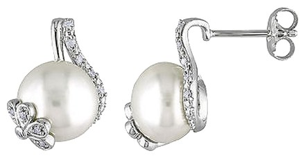 Other 110 Ct Diamond 10-11 Mm White Freshwater Pearl Ear Pin Earrings Silver Gh I3