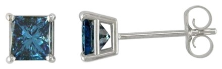 Other 14k White Gold Blue Princess Diamond Solitaire Stud Earrings 0.75 Cttw