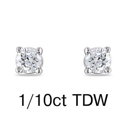 Other 14k White Gold Diamond Stud Earrings 0.1 Ct Cttw H-i Color I2-i3 Clarity