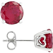 Other Sterling Silver 4 45 Carat Tgw Round Cut Ruby Heart Earrings