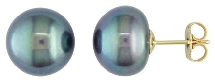 Other Amour 14k Yellow Gold 11-12mm Black Pearl Stud Earrings