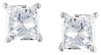 14k White Gold Diamond Solitaire Stud Earrings 0.68 Cttw I Si
