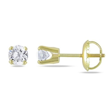 Other 14k Yellow Gold Diamond Screwback Stud Earrings 0.5 Cttw J-l I2-i3