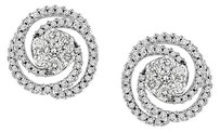 14k White Gold Diamond Swirl Geometric Stud Earrings 1.5 Cttw G-h Si