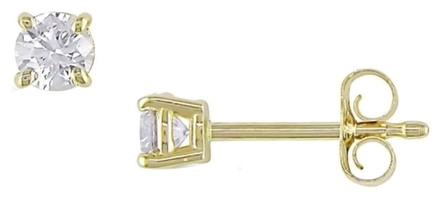Other 14k Yellow Gold Diamond Solitaire Square Geometric Stud Earrings 0.3 Ct Vs2-si1