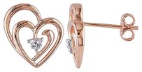 Other Two-tone Sterling Silver Diamond Ear Pin Heart Earrings I3