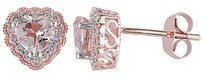 Other 10k Pink Gold 110 Ct Diamond And 1 Ct Morganite Heart Love Stud Earrings I2i3